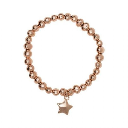 Simple Star Charm Bracelet with Irregular Shaped Rose Gold Nuggets